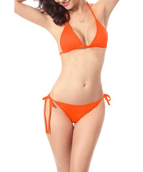 Orange Solid Halter Lace-Up Women's Bikini Set