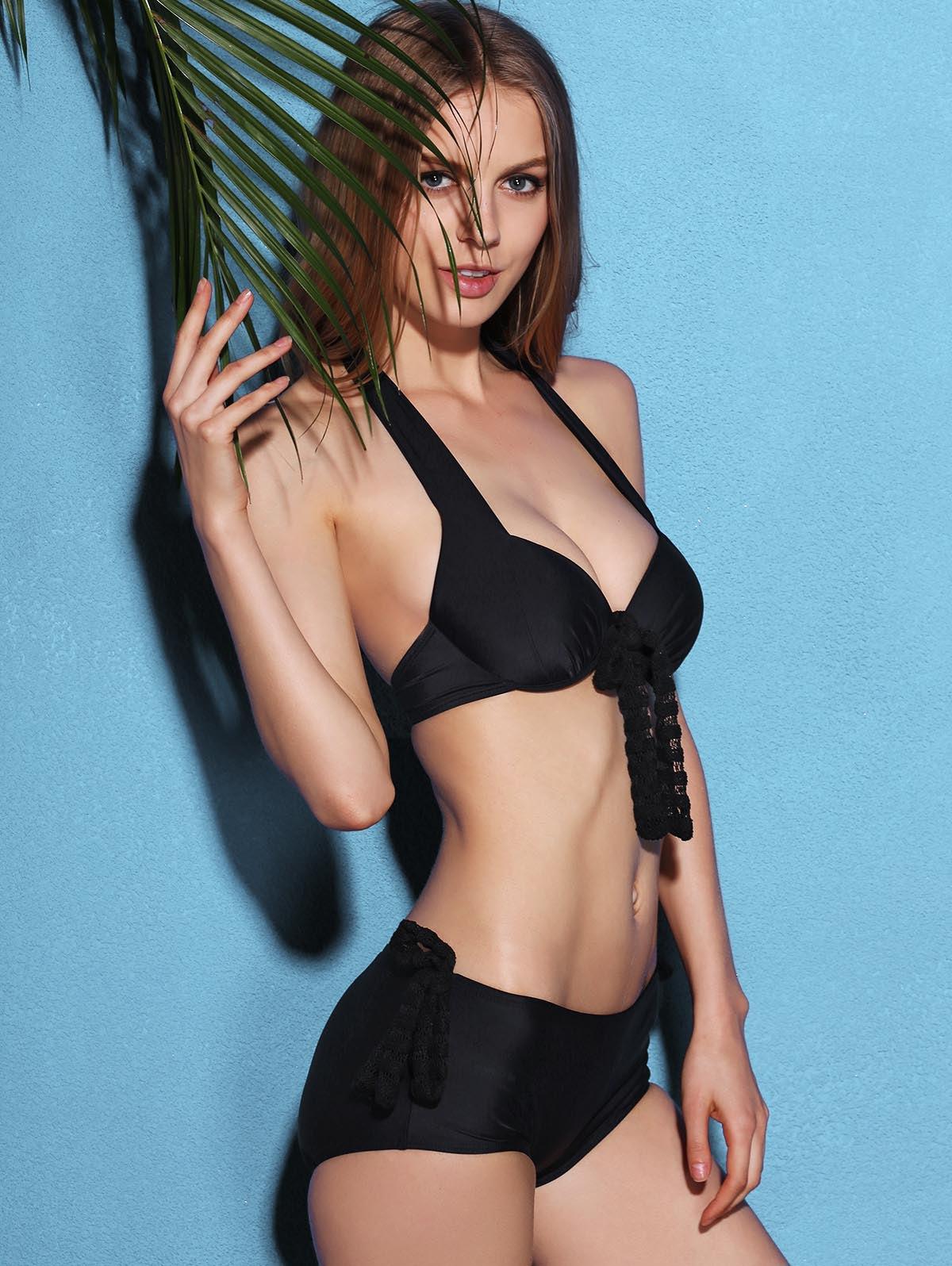 With Black Halter Up Piece Bows Three Set Neck Push Bikini c354jARLq